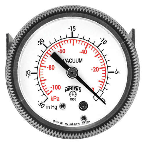 "WINTERS INSTRUMENTS P9U901424UC Vacuum Gauge,2/"" Dial Size,Black"