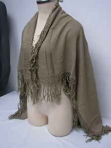 VINTAGE-MADE-IN-MORACO-OLIVE-LADIES-SCARF-SHAWL-CAPE-WRAP-with-FRINGE-36-034-x38-034
