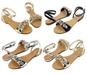 Ambra-69-Fashion-Precious-Stone-Flats-Cute-Gladiator-Sandals-Party-Women-039-s-Shoes