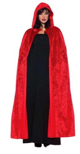 Femmes Petit Chaperon Rouge Long Velours Cape Diable Costume Halloween Robe Fantaisie Neuf