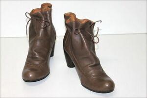 JHAY-Bottines-Boots-Cuir-Gabardine-Doublees-Cuir-Cordon-Cuir-T-40-TTBE