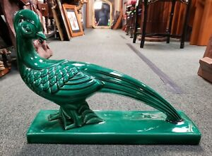 Ca-1930-French-Art-Deco-Lemanceau-Style-Emerald-Green-Ceramic-Pheasant-Sculpture