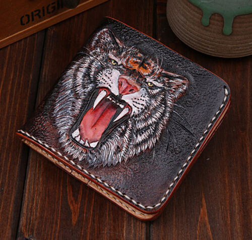 Luxury Fashion Genuine Leather hand painted individual short tiger wallet