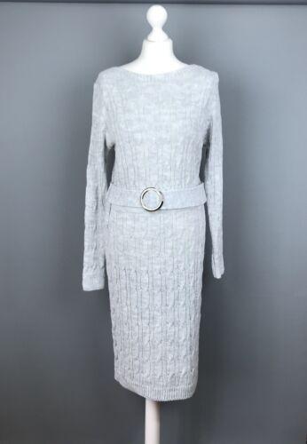 Italian Jumper Dress UK Size 12 14 Knitted Light Grey Long Sleeve Belt Womens