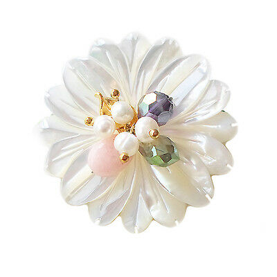 HANABE KOREA Handmade Flower Mother of Pearl Beaded Small Point Brooch Pin Pink