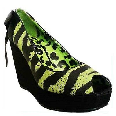 IRON FIST LADIES 'ONE HAND IN THE GRAVE' WEDGE SHOES  (R10B)