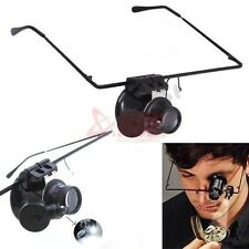 20x Power Magnifier LED Light Frame Eye Glass Loupe Lens Jeweler Watch Repair