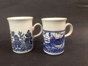 Churchill-Rooster-Blue-Willow-Coffee-Tea-Cups-Mugs-Farmyard-England-Set-of-2