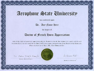 Doctor french horn appreciation diploma yamaha conn ebay image is loading doctor french horn appreciation diploma yamaha conn yadclub Images
