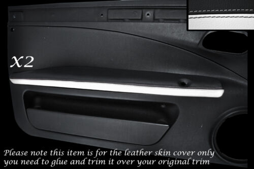 WHITE /& BLACK 2X DOOR ARMREST LEATHER SKIN COVERS FITS FIAT COUPE 1993-2000