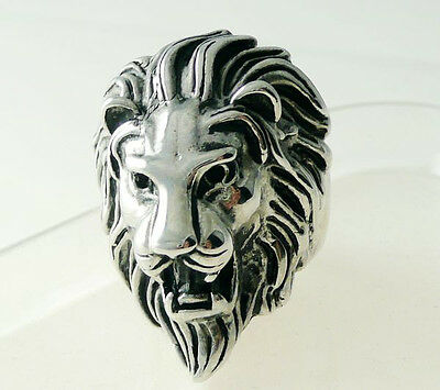 Men's Silver Stainless Steel Lion Head Band Rings Jewelry US Size 8 9 10 11 12