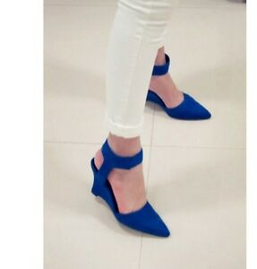 New-Women-Vintage-Ankle-Strap-Pointed-Toe-Wedge-High-Heels-Shoes