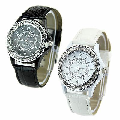 Geneva Fashion Crystal Dial Ladies Girls Quartz Analog Leather Bracelet Watches