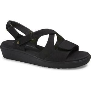 Grasshoppers-Cherry-Vulc-Wedge-Sandals-Black-Women-039-s-Casual-Comfort-Shoes-WIDE