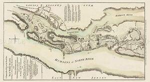 Fort Washington Map.Map Antique Military 1777 Sauthier Battle Fort Washington Replica