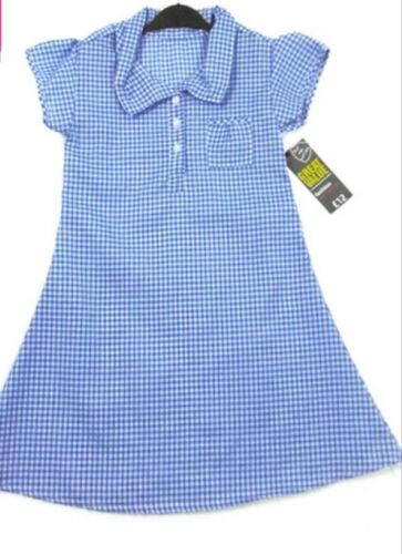 Brand new RRP £12 Age 9-10 years Girls Blue check Gingham School Summer Dress