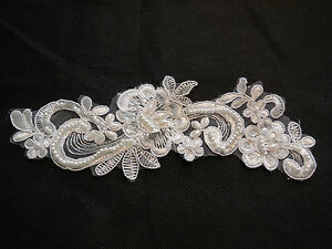 An Ivory bridal sequins floral lace Applique bridal wedding floral lace motif