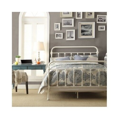 brand new afa88 b06f1 Queen Size Bed Vintage Antique Iron White Metal Headboard Footboard Frame  Beds