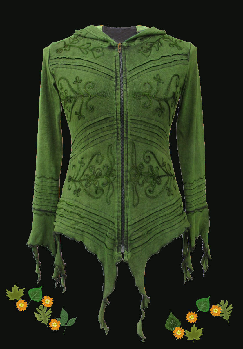 Gothic Gothic Gothic Tribale Witchy Pixie Pagan Giacca Hoodie Cappuccio 36 38 40 42 44 46 verde BLU eaba16
