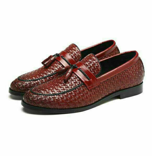 Fashion Mens Handmade Woven Tassel Casual Loafers Formal Dress Slip On Shoes