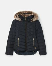 Joules Womens 212772 Chevron Quilt Padded Jacket With Hood - Marine Navy