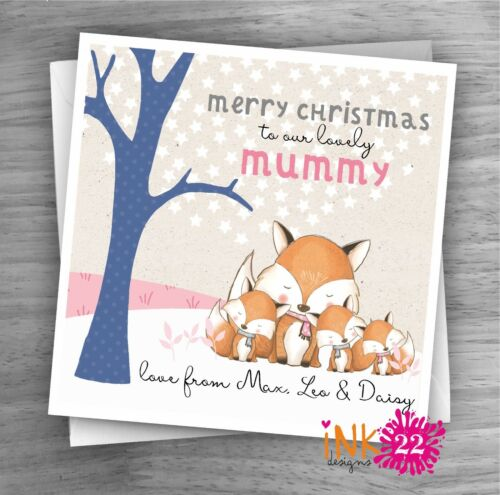Cute Foxes Personalised /'To Mummy/' Christmas Card add names and number of kids