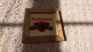 "SMALL VINTAGE BUDWEISER KING OF BEERS ANHEUSER BUSCH MIRROR BAR SIGN 5""x5"""