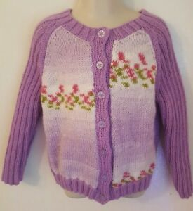 dca117ca9 Baby Girl Cardigan 2-3 Years lilac Hand Knitted