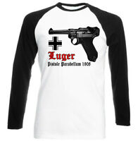 Luger P08 Parabellum 1908 Germany -black Sleeved Baseball Tshirt S-m-l-xl-xxl