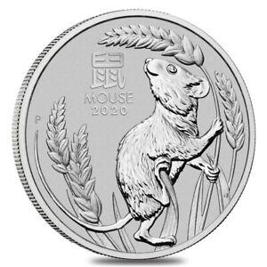 2020 1 oz Platinum Lunar Year of The Mouse / Rat BU Australia Perth Mint In Cap