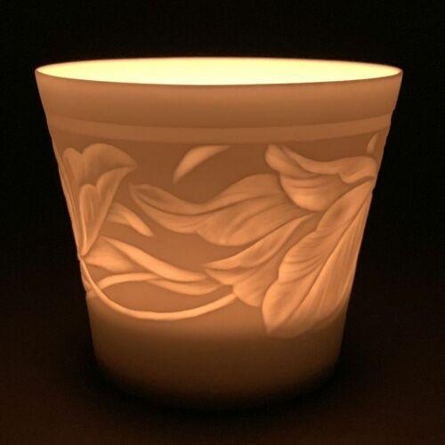 Weimar porcelaine-Photophore lumignons BISQUIT-porcelaine-motif feuilles