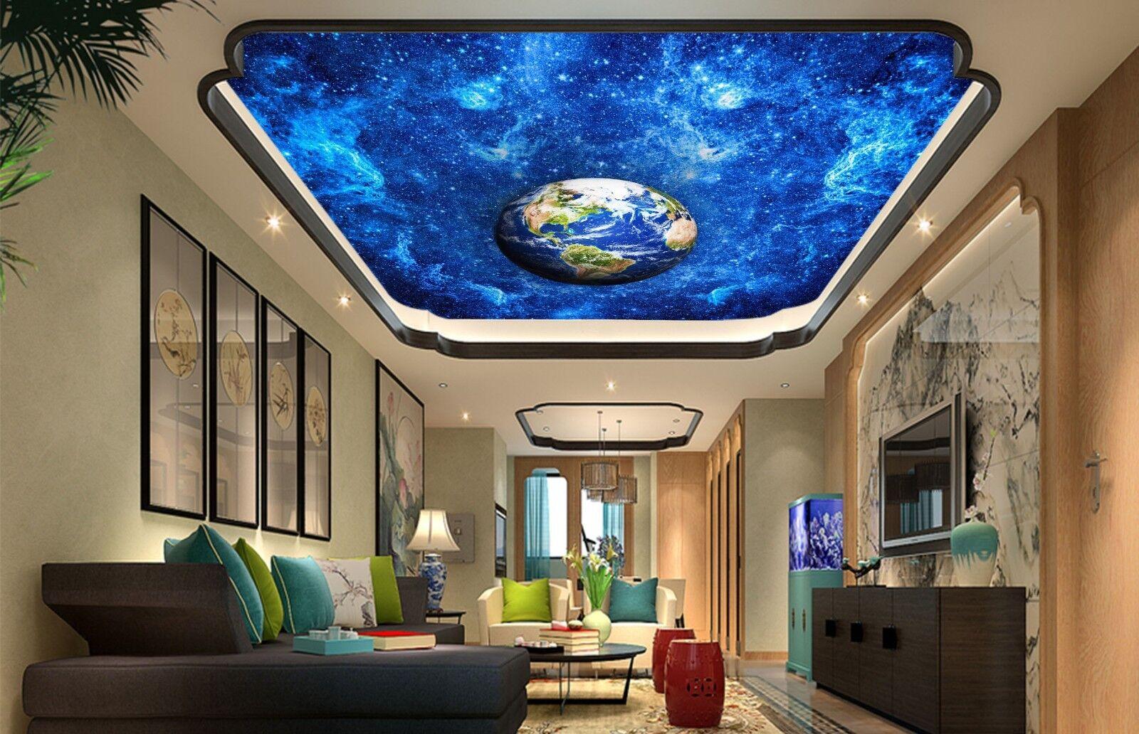 3D Blau Earth Star 43 Ceiling Wall Paper Print Wall Indoor Wall Murals CA Jenny