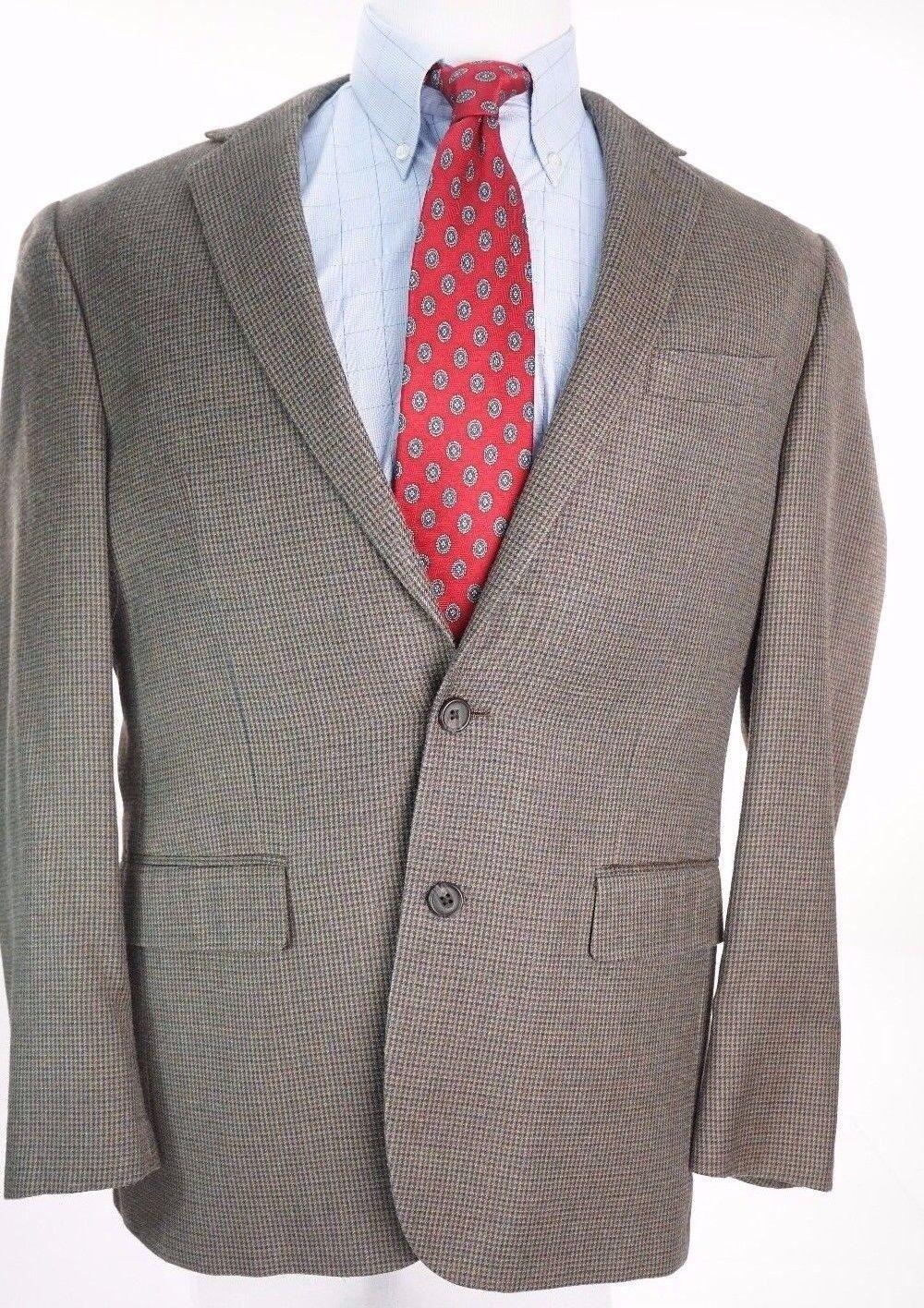 Ralph Lauren  Herren Braun Houndstooth Silk Wool Cashmere Sport Coat 40R 2 Button