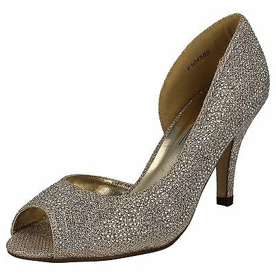 Ladies Anne Michelle F10458 Gold Or Silver High Heel Peep Toe Evening Shoes