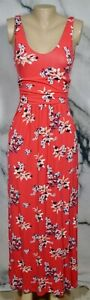 ST-TROPEZ-WEST-Coral-Red-Multicolor-Floral-Print-Sleeveless-Maxi-Dress-Small
