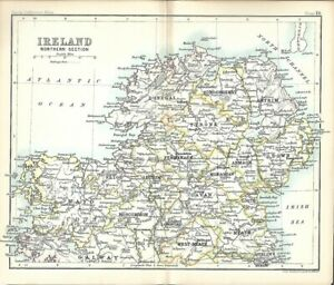 Donegal Map Of Ireland.Original 1896 Map Ireland Northern Section Connaught Ulster