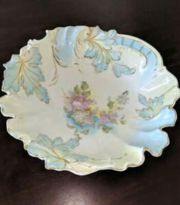 Antique-Ornate-Porcelain-Pastel-Blue-Serving-Bowl-Lilac-Floral-Embossed-Edges