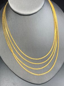 Vintage Gorgeous Gold 4 Multi Strand Flat Chain Necklace Matte Gold Nice Clasp
