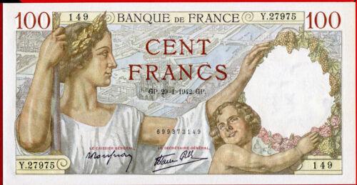 # FRANCE 100 FRANCS 29.1 SULLY com 1942 UNC perfect - P 94