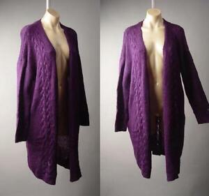 Purple Cable Knit Long Duster Oversized Sweater Robe Coat 202 mv ...