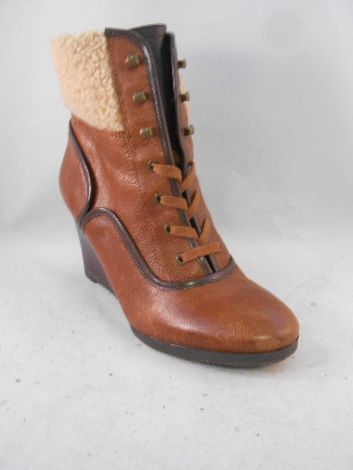 Franco Sarto Waverly Brown Leather Wedge Booties Heels w  Collar Size 8.5 M