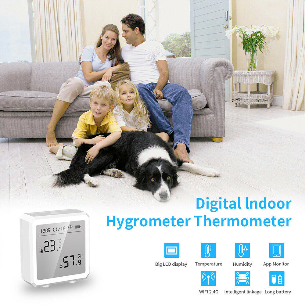 Smart LCD Display Humidity Controller Meter Thermometer Fit Google Home Indoor