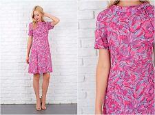 Vintage 60s Pink Vivid Floral Dress A Line Mod Medium M