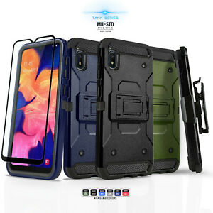 for-SAMSUNG-GALAXY-A10E-Tank-Series-Phone-Case-Cover-amp-Holster-Tempered-Glass