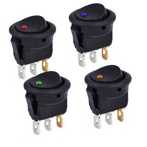 4Pcs DC12V Car Round Rocker Dot Boat  LED Light Toggle ON//OFF Switch 3 Pins