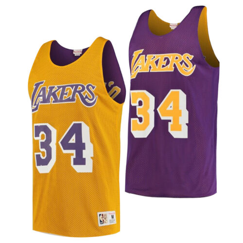 Mitchell /& Ness LA Lakers O/'Neal Mens Reversible Tank Top Vest NNRMDA18007 SON96