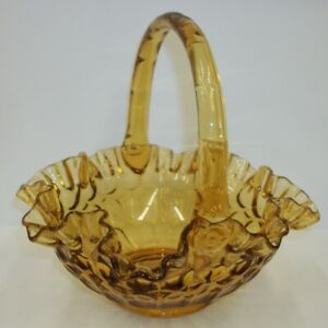 Vintage-Fenton-Crimped-Thumbprint-Colonial-Amber-Glass-Basket