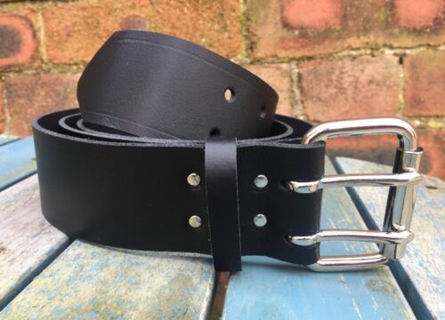 Black Leather Double Prong Belt 2 Inch Wide Hand Made 100/% Real Leather 2 Prong