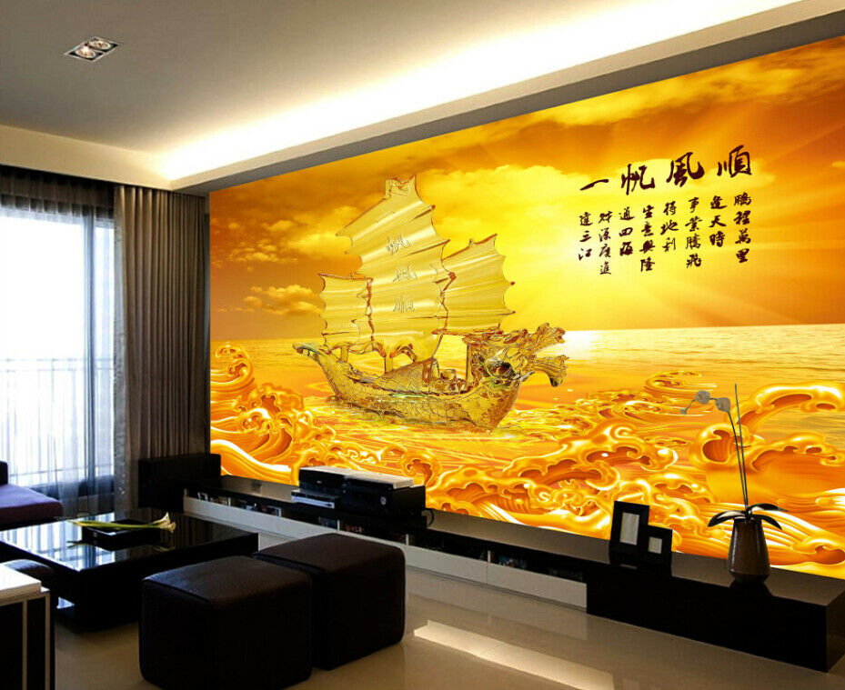 3D golden Sea Boat 84 Wall Paper Murals Wall Print Wall Wallpaper Mural AU Lemon