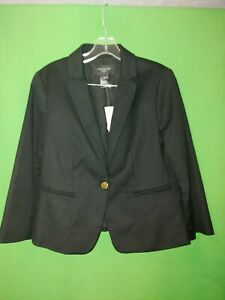 2149-NWT-ANN-TAYLOR-10-Petite-10P-black-cotton-short-blazer-jacket-new-10P